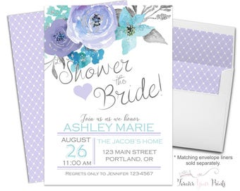 Lavender Bridal Shower Invitations - Floral Bridal Shower Invites - Shower The Bride - Bachelorette Invite - Purple Flowers - Watercolor