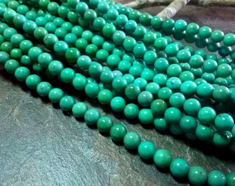 Turquoise, Tibetan, 6mm Smooth Rounds, Grade AA,  Soft Turquoise Green, 8 Inch Strand, 34 Beads, Priced per Strand