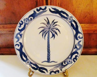 Vintage Bombay Co. Palm Tree Plate, Gallery Wall Decor, Blue and White Decor, Palm Beach Decor, Chinoiserie, Decorative Plate, Preppy