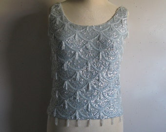 Vintage 60s Beaded Tank Top Arctic Blue or Ivory Cream 1960s Sequin Beaded Wave Waterfall Knit Top Small