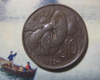 1934, Italy, Copper Coin, 10 Centesimi, Honey Bee and Vittorio Emanuele III