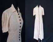 Ivory Linen Puffsleeved Vintage 1940's WWII Swing Women's Dress BUTTONS S