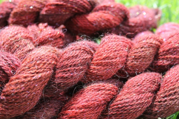 Merino Yarn Pink and Burgundy  with Angelina- 5/50- 75 yards per skeins   BARGAIN - Close Out Yarn-Knitting Crochet Weaving Doll Hair