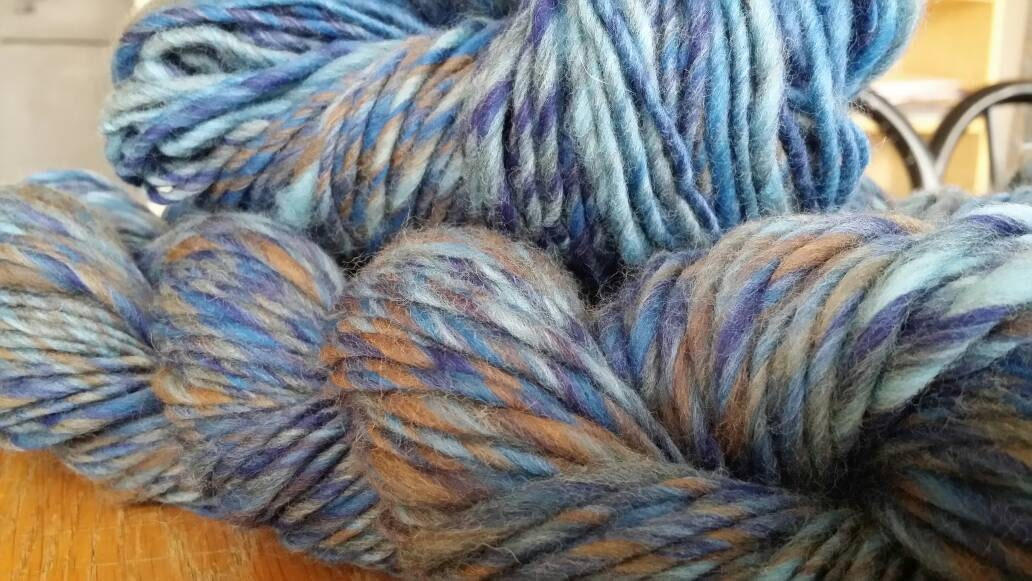 Super Chunky Merino Variegated Singles Yarn for Knitting, Crochet Colorway Midnight Rider by Spinderellas Creations
