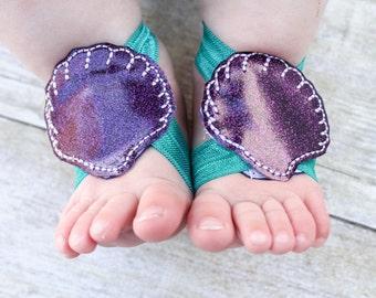 Seashell Barefoot Sandals, Seashell Baby Sandals, Mermaid barefoot sandals, Seashell Sock Straps, Mermaid sock straps, girl barefoot sandal