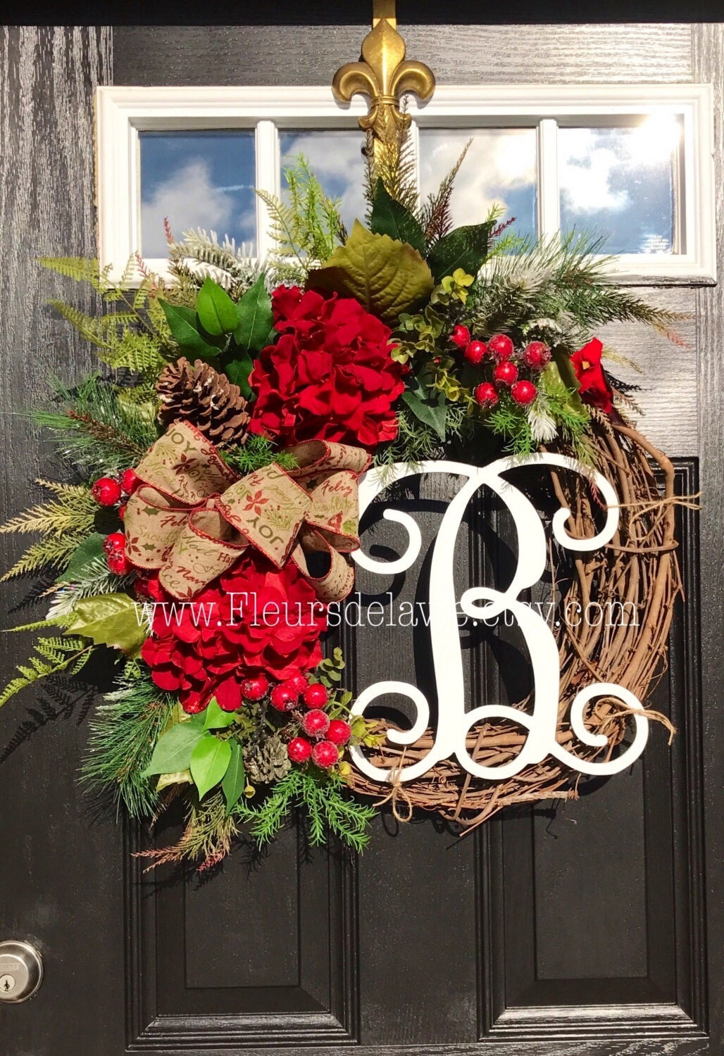 on sale 50 off ready to ship christmas wreath for front door monogram wreaths holiday wreaths front door wreath seasonal door wreath - Christmas Wreaths Etsy