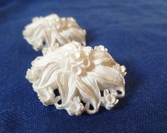 Vintage 1950s Celluloid Clip-on Earrings ... Floral Swirl Ivory Cream Oval Intricately Detailed Molded Carved Lightweight Bride Wedding