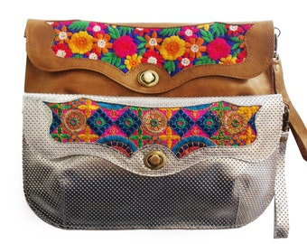 Bronze leather handbag with floral embroidery, Leather embroidered purse, Floral evening bag