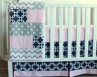 Baby Girl Crib bedding set.  Navy Blue, Pink, Gray, Whale Bumperless baby bedding set