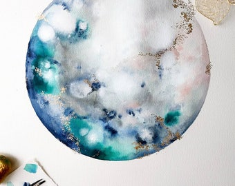 """Custom Original Watercolor Moon Painting 16x24 15"""" Round Moon with Gold Metallic Pixie Dust"""