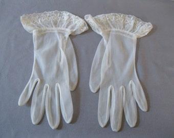 Vintage White Sheer Gloves - 1950s Over Wrist  Ribbon Flounce Detail - Bridal Prom