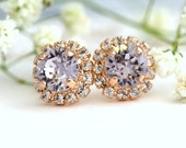 Lilac Gray Earrings, Lavender Studs,Swarovski Purple Earrings,Bridesmaids Earrings,Rose Gold Earrings,Bridal Earrings, Lilac Gray Earrings