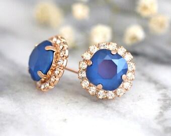 Blue Earrings,Royal Blue Earrings, Blue Navy Earrings, Swarovski Sapphier Earrings,Stud Earrings,Bridesmaids gift, Dark Blue Earrings
