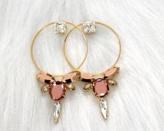 Bridal Hoop Earrings, Blush Pink Statement Earrings, Big Hoop Bridal Earrings, Bridal Large Gold Hoop Earrings, Swarovski Blush Big Earrings