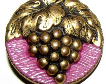 Vintage Button ~ Plastic Button~  Buffed Button ~ Metalized Gold with Purple Grapes Button