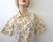 ON SALE 1960s Floral Print Blouse / semi sheer cotton blend blouse / mad men vintage