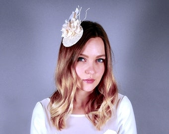 Silk flower headpiece with delicate lace, bridal hat, wedding fascinator