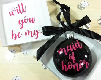 Maid of Honor Proposal, Personalized Bridesmaid Gift, Will You Be My Bridesmaid Ornament, Flower Girl Gift