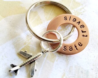 Safe Travels Gift Keychain - Hand Stamped Copper Washer Keychain with airplane charm - Pilot - Flight Attendant - Traveler