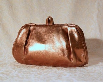 Metallic Bronze Leather Purse - Vintage 1970's by Etra - Great Condition