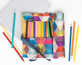 Roll-Up Pencil Case / Wrap Pencil Case / Makeup Brush Roll In Colour / Triangles Rainbow Pencil Roll