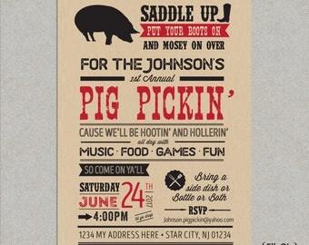 Pig Roast Party Invitation - Pig Pickin' - Birthday - Summer - BBQ- Barbecue - Beer