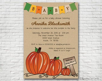 Three Pumpkins Invitation - Printable or Printed (w/ FREE Envelopes)