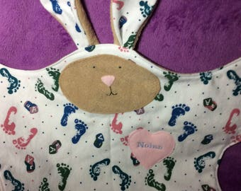 Bunny Lovey security blanket made from your baby's favorite receiving blanket