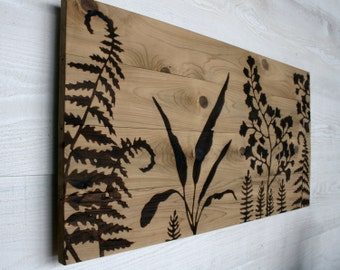 Large Wood Burned Wall Art  - Woodland Garden -  32 X 16 inches