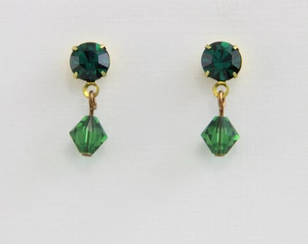 Hand Assembled Vintage Rhinestone and Crystal Bicone Earrings 1 inch Length Green Gold  Brass on Steel Posts