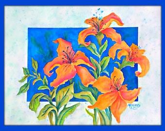 Watercolor Garden Flowers, Orange Flowers, Flower Window, Garden Art, Orange Green, Martha Kisling