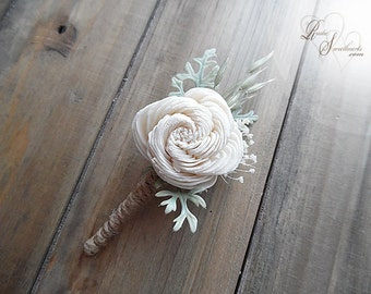 Rustic Sola Flower Boutonniere with twine wrapped stem.