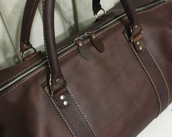 Leather Gym Bag, Full-grain Oil Tanned Cowhide, Gym Bag, Duffel Bag, Leather Travel Bag
