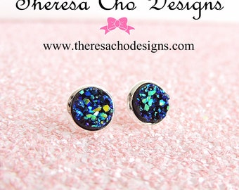 Small Metallic Blue with Green Faux Druzy Studs in Silver, Druzy Studs, Faux Blue Druzy Studs, Small Druzy Studs, 8mm Faux Druzy Studs