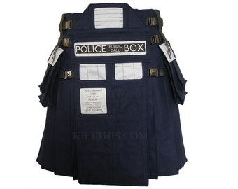 Interchangeable TARDIS Inspired Utility Kilt Navy Blue 10oz Canvas Adjustable Custom Fit with Large Expanding Cargo Pockets
