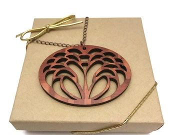 Lacewood Flower Necklace, Laser Cut Necklace, Antique Copper Chain