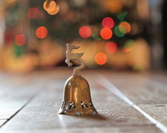 "Vintage Brass Reindeer Christmas Bell / Engraved ""Christmas 1994"" / Rustic Holiday Home Decor"
