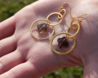 Brushed Gold and Smoky Quartz Quatrefoil Clover Earrings on Gold Plated French Wires, OOAK, One of a Kind
