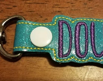 Sparkle Vinyl DOULA Key Fob with Snap Tab