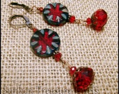 Deep Red, Czech Art Glass, Antique-Style Earrings, in Red Crystal and Copper, Downton Abbey Earrings. BoHo Red Earrings, Gypsy Red Earrings