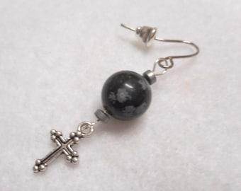 Men's Earring, Man's Earring, Single Earring, Stone Earring, Cross Earring, Men's Jewelry, Handmade Earring, Rocker Earring, Basic Earring