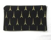 Black and Gold Paris Fabric Zipper Pouch / Pencil Case / Make Up Bag