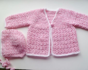 Pink Marble Baby Girl Jacket And Bonnet