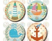50% OFF SALE Digital collage sheet nautical 1 & 1.313 inch circle Sea Adventures for jewelry making and buttons. Printable lighthouse, whale