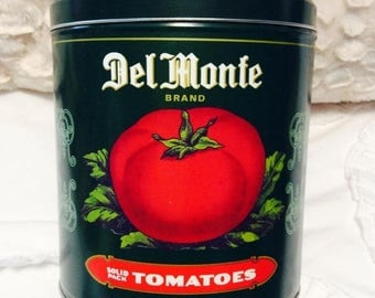 EASTER SALE Vintage DEL Monte Tomatoes Tin Box Canister Americana Advertising Green