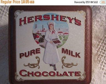 Vintage Hershey Chocolate Tin Container with Vintage Candy Clerk Brown Cream Americana Advertising