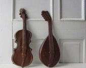 Vintage Violin and Mandolin 1970's Wall Art - Instrument / Music Theme Wall Hanging - Aluminum - Royal