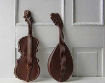 Vintage Violin and Mandolin 1970's Wall Art - Instrument / Music Theme Wall Hanging - Aluminum - Royal