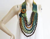 Rose Necklace- Rose Crochet Necklace-Handmade Loop Scarf -Autumn/Spring Necklace-Shades of Green Necklace