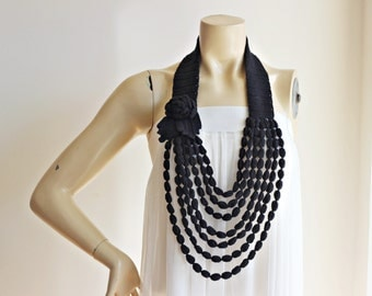 Black Rose Necklace- Rose Crochet Necklace -  Jewelry Scarf-Handmade Loop Scarf -Cotton Spring Necklace